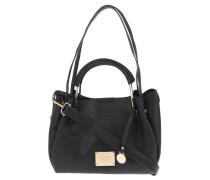Handtasche, integrierte Umhängetasche, goldfarbene Elemente, Henkel, Schwarz