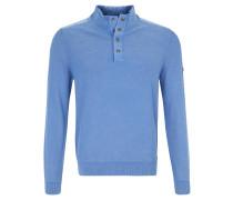 Pullover, Strick, halbe Knopfleiste, Stehkragen, Blau