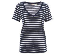 T-Shirt, gestreift, V-Ausschnitt, Blau