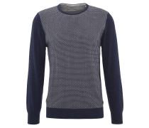 Pullover, Strick, Baumwolle, geometrisch gemustert, Blau