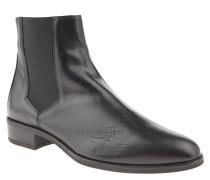 Chelsea Boots, Leder, einfarbiges Design, Schwarz