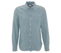 Jeanshemd, strukturiert, Brusttasche, Blau
