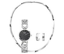 Schmuck-Set mit Uhr, Collier und Halbcreolen, 3-teilig,9002-3256