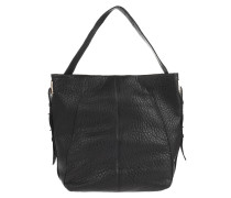 Handtasche, gestepptes Leder, verstellbarer Griff, Schwarz
