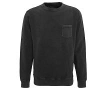 Sweatshirt, Brusttasche, Used-Waschungen, Bündchen, Schwarz