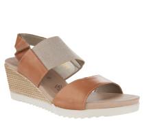 Sandaletten, Keilabsatz, Glitzer-Riemen, Leder, Bicolor