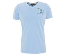 T-Shirt, Print, breite Säume, V-Ausschnitt, Blau