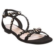 Sandalen, Leder, Nieten-Besatz, Schwarz