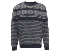 Pullover, Wollanteil, Mustermix, Rippbündchen, Blau