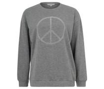 Sweatshirt, Strass-Besatz, meliert, Rippbündchen, Grau