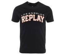 T-Shirt, Baumwolle, Logo-Print, Schwarz