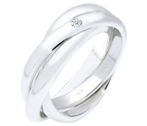 Ring Verlobungsring Diamant 0.03 Ct. 925 Silber