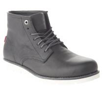 Boots, Leder, Schnürung, Profilsohle, Schwarz