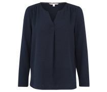 Blusenshirt, Ärmelriegel, Rückenpasse, Split-Neck, Blau
