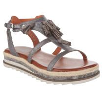 Sandalen, Metallic-Look, Strass-Besatz, Troddel, Silber