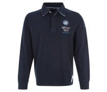 Poloshirt, Langarm, maritim, Baumwolle, Blau
