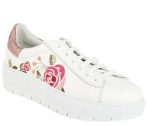 Sneaker, Blumen-Stickerei, Glitzer, Leder, Plateau, Weiß