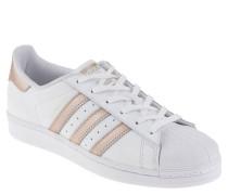 "Sneaker ""Superstar"", Leder, schimmernde Patches, Plastikkappe, Weiß"