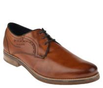 Schnürschuhe, Leder, Loch-Muster, Derby-Stil, rahmengenäht, Braun