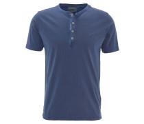 T-Shirt, Baumwolle, Used-Look, Knopfleiste, Blau