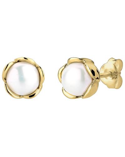 Ohrringe Blume Süßwasserperle Klassische Basic 375 Gelbgold
