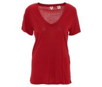 T-Shirt, einfarbig, weiter V-Ausschnitt, Rot