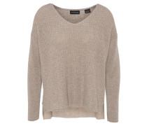 Pullover, uni, strukturiert, verlängerter Rücken, reines Kaschmir, Beige