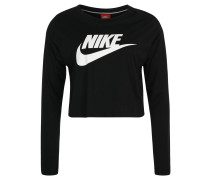 Langarmshirt, verkürzter Schnitt, Logo-Print, für Damen, Schwarz