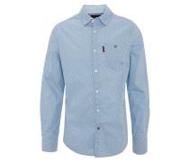 Freizeithemd, reine Baumwolle, Brusttasche, Blau