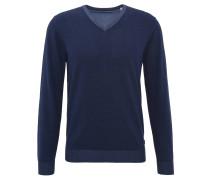 Pullover, Baumwolle, V-Ausschnitt, Rippbündchen, Blau