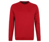 Sweatshirt, Rippstrick, Rundhalsausschnitt, Baumwolle, Rot