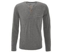 Langarmshirt, Henley-Stil, Brusttasche, Grau