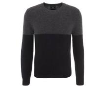 Pullover, Rundhalsausschnitt, Woll-Mix, zweifarbig, Schwarz