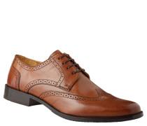 Schnürschuhe, Leder, Broguing, Derby-Stil, Braun