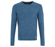 Pullover, Rundhals, meliert, Leder-Patches, Blau