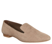 Slipper, Leder, Reptil-Optik, Taupe