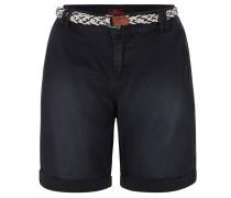 Shorts, unifarben, mit Gürtel, Blau