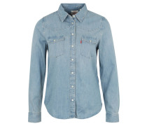 Bluse, Jeans, Classic Fit, Brusttaschen, Druckknöpfe, Blau