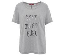 T-Shirt, meliert, Pailletten-Schriftzug, Grau
