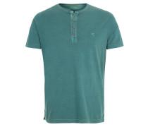 T-Shirt, Baumwolle, halbe Knopfleiste, Schlitze, Grün
