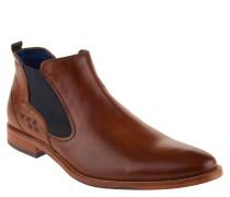 Chelsea Boots, Leder, strukturierte Prägung, Braun