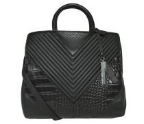 Handtasche, Leder, Struktur-Musterung, Schwarz