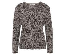Pullover, Leopardenmuster, mit Kaschmir, Merinowolle, Beige