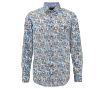 Hemd, Casual Fit, Australien-Print, Brusttasche, Blau