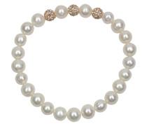 Perlen-Armband elastisch mit champagnerfarbenen Kristallen