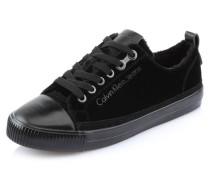 Sneaker, uni, Samt-Optik, Schnürung, Schwarz