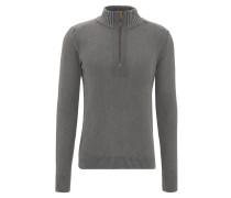 Pullover, Strick, Reißverschluss, Stehkragen, Grau