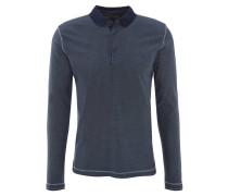 Poloshirt, Langarm, gestreift, Baumwolle, Blau