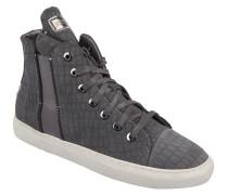 Sneaker, Leder, Reptilien-Optik, elastische Einsätze, Grau