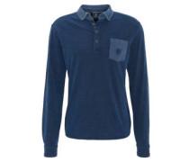 Poloshirt, Langarm, gestreifte Brusttasche